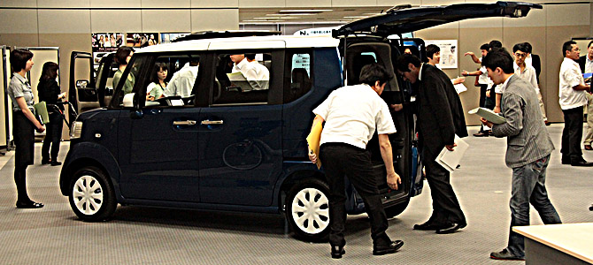 Honda's Nbox at Honda's Tokyo HQ