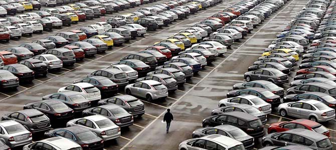 Cars lot in China Picture courtesy LA Times