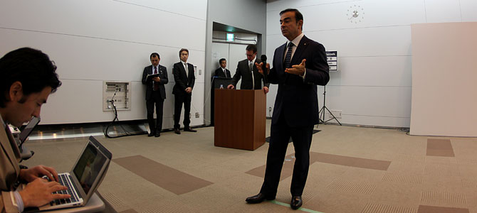 Ghosn Nikkei reporter - Picture courtesy Bertel Schmitt