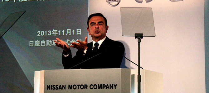 Ghosn Yokohama 11-1-2013 - Picture courtesy Bertel Schmitt