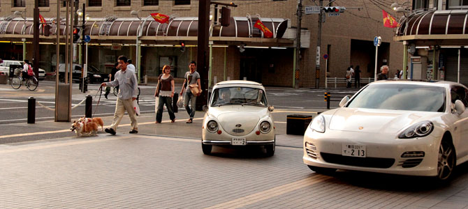1968 Subaru 360 meets modern day Panamera in Toyota City