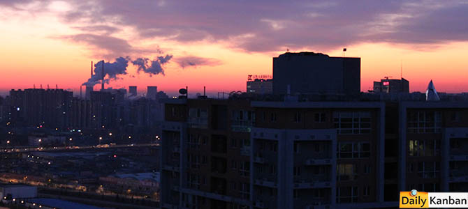 Last look from our Beijing penthouse. Rare sunset. Power stations in the back. No chargers downstairs