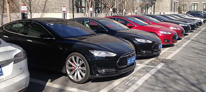 Model S lining up in front of Tesla HQ, Beijing. Picture Carnewschina.
